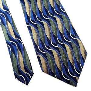 Givenchy Monsieur Abstract Silk Blue Green Tie